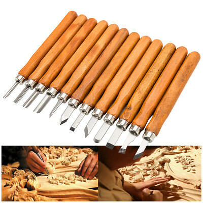 12X Wood Carving Hand Chisel Tools Kit Set Wood Working Gouges bs02