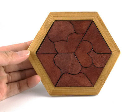 US Wooden IQ Game Jigsaw Intelligent Tangram Brain Teaser Puzzle Baby Kid Toys
