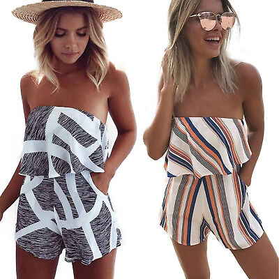 UK Womens Holiday Mini Playsuit Ladies Jumpsuit Summer Beach Dress Size 10 12 14