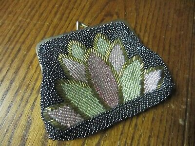 "Vtg 40s BEADED COIN change small PURSE bag Nouveau floral Glass Beads 4"" flapper"
