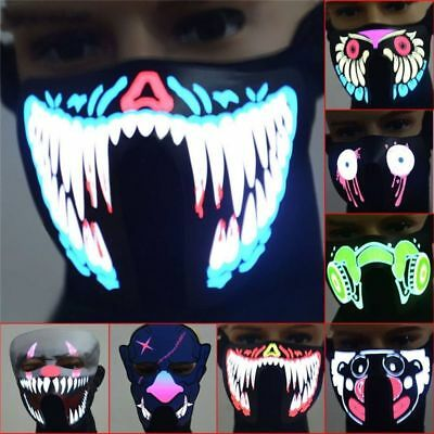 Scary Party Decorations Gifts Luminous LED Face Mask Easter Rave EL Wire
