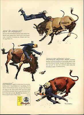 1955 Wrangler Jeans Rodeo Cowboys Fred Ludekens Art Print Ad