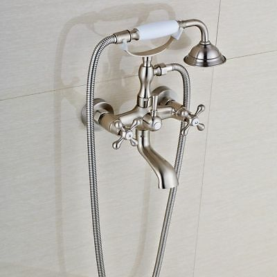 Vintage Clawfoot Bath Tub Faucets Hand Shower Wall Mount Dual Handles Mixer Tap