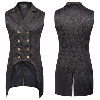Men's Steampunk Gothic Lapel Collar Double-Breasted Jacquard Vest High-Low Hem
