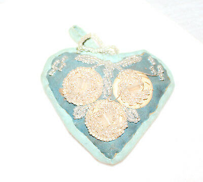 Vintage Victorian Iroquois Heart Shaped Whimsy Pin Cushion 3-1/2""
