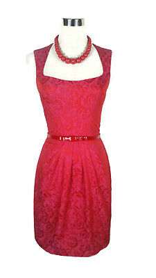 CUE Dress - Floral Jacquard Hot Pink Red Vintage Retro Pencil Pleated Zip - 6/XS