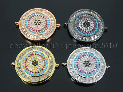 Multicolor Zircon Gemstones Pave Round Disk Bracelet Connector Charm Beads Gold