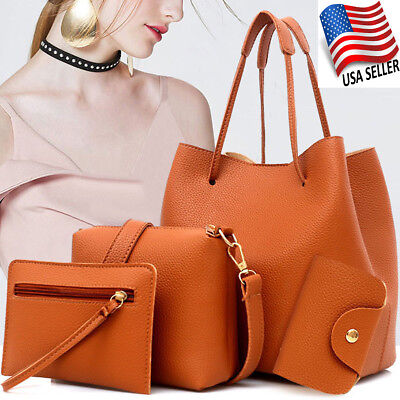 Women Hobo Bag New Shoulder Handbag Tote Purse Leather Messenger Satchel 4 Piece