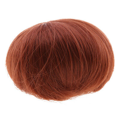 Fashion Short Straight Hair Wig for BJD/Barbie Dolls Making Accs Red Brown
