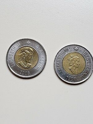 1996, 2005  Canada Two (2) Dollars Coin tonnie
