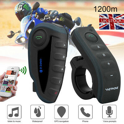1200M V8 Bluetooth Motorcycle Interphone Intercom Helmet Headset 5 Riders GPS UK