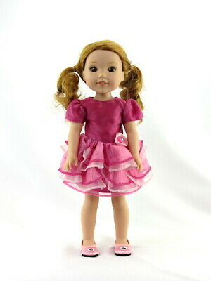 """Doll Clothes 14.5"""" Dress Pink Ruffle Tiered For American Girl Wellie Wishers"""