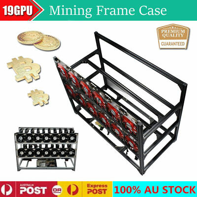 19 GPU Miner Stackable Aluminum Open Air Mining Rig Frame Case Ethereum ZCash AU