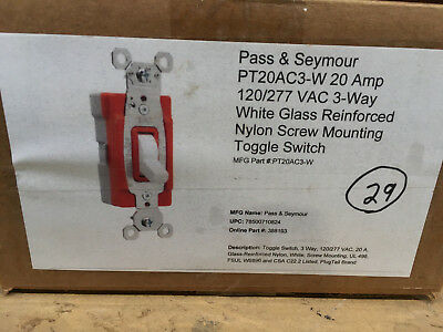 (29) P&S PT20AC3-W 20A 120/277V White Plugtail Three Way Toggle Switch
