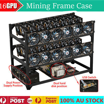 16 GPU Miner Stackable Aluminum Open Air Mining Rig Frame Case Ethereum ZCash AU