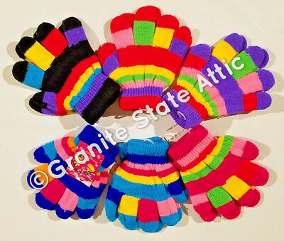 6 Pairs Knit Gloves, Boys or Girls, Kids Assorted Colors Striped SHIPS FREE!