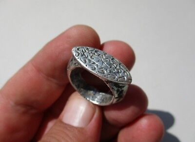 ancient Byzantine/Middle Ages silver gently carved solid silver ring