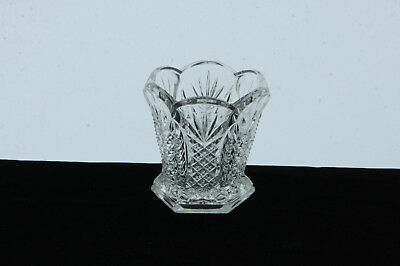 Antique National Glass Clear Diamond Lil Pattern Toothpick Holder Eapg