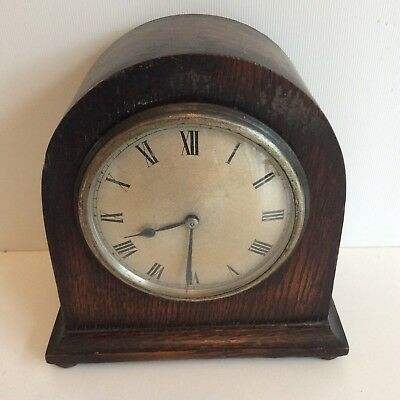 Antique Small Oak Mantle Clock English Untested.