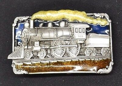 Steam Locomotive Train Railroad Western Vintage Belt Buckle