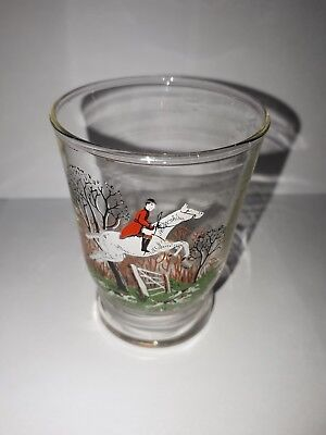 Vintage Sherry Glass with jumping horse and rider scene, unchipped