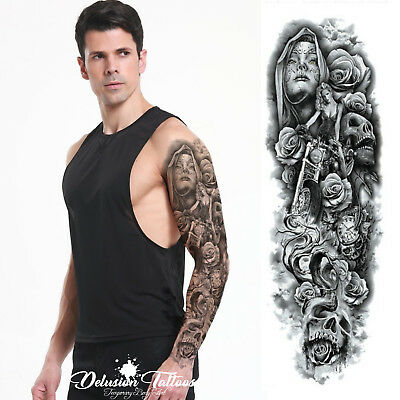 Realistic Temporary Tattoo Sleeve, Arm, Hells Angel, Skull, Roses, Mens, Womens