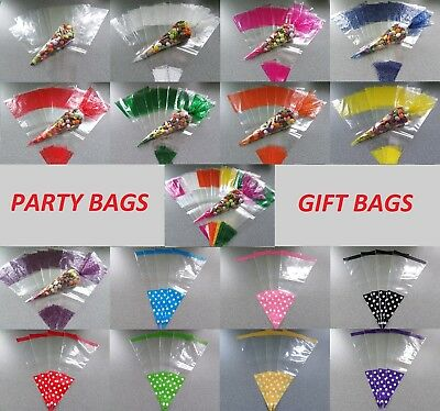 LARGE CELLOPHANE CONE BAGS - Sweet Bags, Party Bags, Gift Bags, Wedding Favours