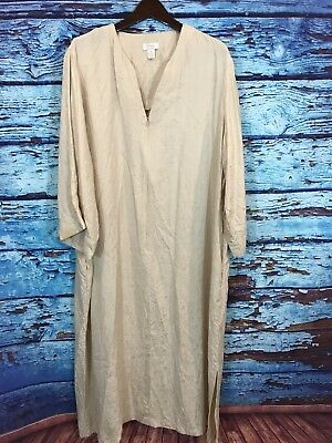 Couture By Cabernet Silk Ivory Long Sleeve Gown Housecoat With Pockets XL
