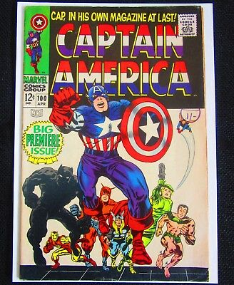 CAPTAIN AMERICA ISSUE #100 - LOVELY 1960s COMIC - FIRST IN CAPS OWN BOOK! -