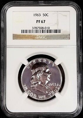 1963 Proof Franklin Silver Half Dollar graded PF 67 by NGC!