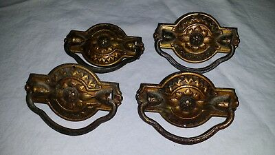 "Set of 4 Vintage Antique Brass Drawer Pulls 3 1/8"" Long with Center Mount"