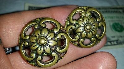"PAIR Vintage Antique  Pierced 1 1/8"" Cast Brass Drawer Pulls Knobs"