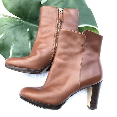 fda3fefadd9 Nine West Protege Sz 6M Cognac Leather High Heel Ankle Boots