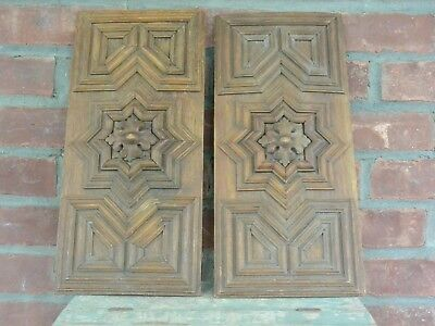 Architectural Salvage Oak Carving and Molding Panel inserts (Two Pieces)