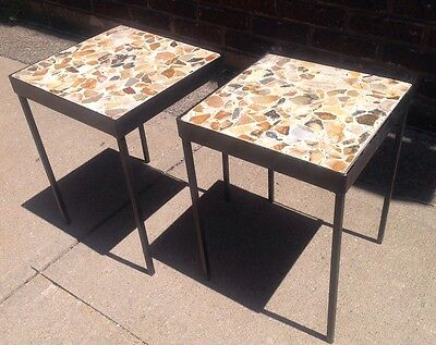 Incredible Pair Of Vintage Mid Century Modern Stone Petrified Wood Side Tables