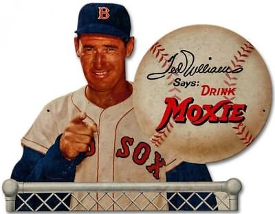 Ted Williams Mlb Baseball Player Moxie Soda Heavy Gauge Metal Advertising Sign