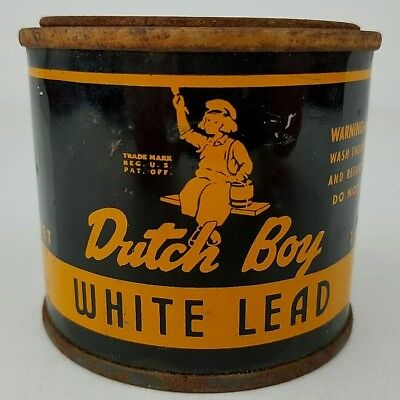 Vintage Dutch Boy Paint White Lead 1 Lb. Tin Can Advertisement Unopened Hardened