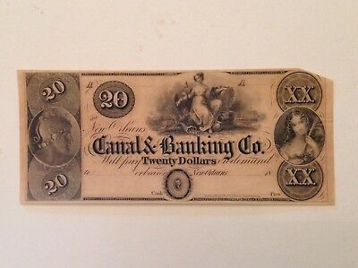 - 1840's $20 Canal & Banking Co. of New Orleans Louisiana