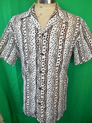 Vintage 1970s White Brown Short Sleeve Polyester Patterned Disco Party Shirt M/L
