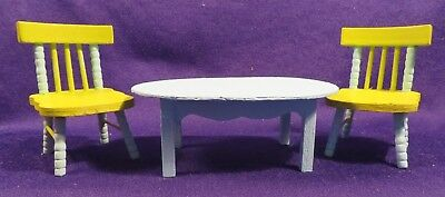 Vintage Painted Wood DOLLHOUSE Miniature Table/Chairs Set Teal & Lime 1:12 Scale