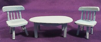 Vintage Wood Painted DOLLHOUSE Miniature Table & 2 Chairs Teal 1:12 Scale