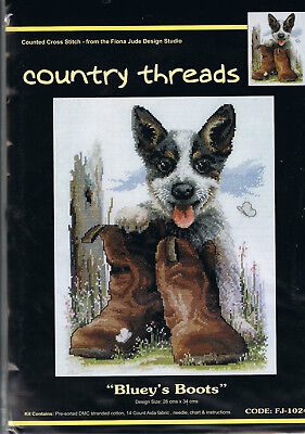 """ BLUEYS BOOTS ""  Cross Stitch Kit,  Country  Threads"
