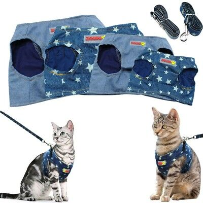 Cat Walking Jacket Harness and Leash Puppy Kitten Denim Clothes Adjustable Vest