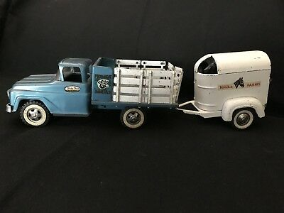 Vintage Pressed Steel 1960's TONKA Farms Stake Truck & Horse Trailer w/ 2 Horses