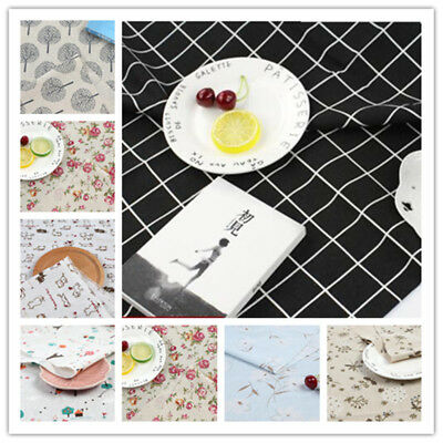 Cotton Linen Crafts Fabric DIY Home Deco Curtain Table Cloth Pillow Handwork New