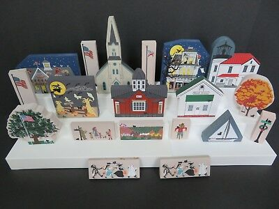 Cat's Meow Lot Of 19 Pieces, Lighthouse, Church, Flag, Trees, School, Halloween