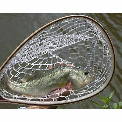 Fly Fishing Landing Net Trout Net Wooden Handle Clear Rubber Catch Fishing Tool
