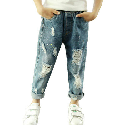 Kids Boys' Fashion Elastic Waist Ripped Jeans Slim Fit Denim Trousers Age 5-13
