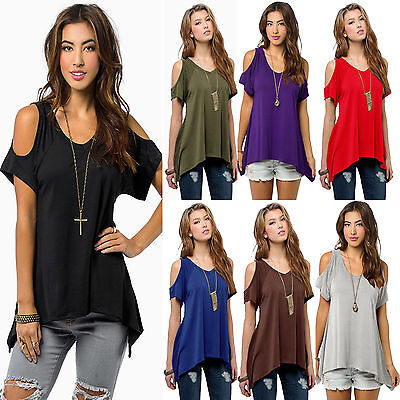 Womens Summer Cold Shoulder Loose Top Short Sleeve Blouse Casual T-Shirt Tee New