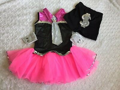 Girls Dance costume pink/black/silver.Shorts